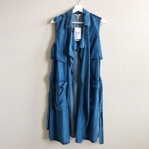 Zara Long Denim Vest